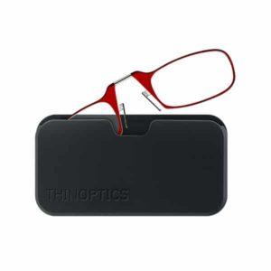 Thinoptics reading glasses & podמשקפי קריאה מתקפלים בנרתיק שנצמד לסמארטפון